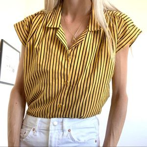 Vintage 80s Yellow Black Striped Button Up Blouse